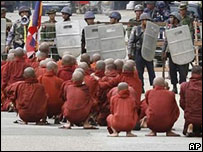 Monk protestors in Burma