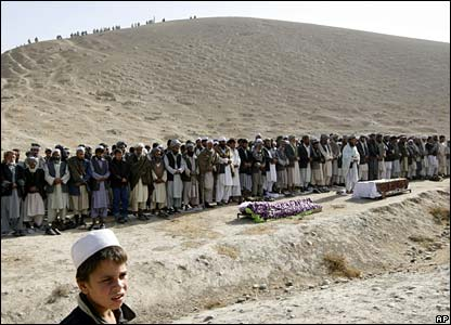 Funerals are held for two bombing victims in Baghlan province on 7 November 2007