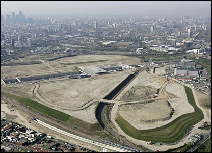The Olympic Park site in Stratford