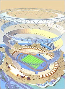 A deconstructed artist's impression of the London 2012 Olympic Stadium