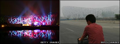 Beijing's Olympic stadium lit up, and cloaked in smog