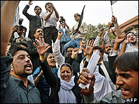 Lawyers at a protest in Islamabad, 7/11/07