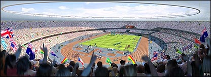 Artist's impression of London 2012 Olympics stadium