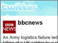 Screengrab of BBC News Twitter page, Twitter