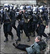 Georgian riot police in Tbilisi - 7/11/2007