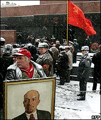 Communist supporters outside Lenin's mausoleum