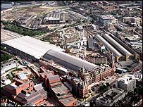 Aerial picture of St Pancras and Kings Cross