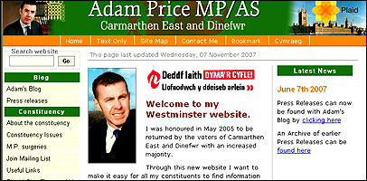 Adam Price MP's website