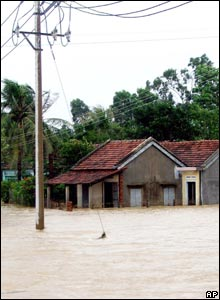 Houses deluged by floodwater in Phu Yen