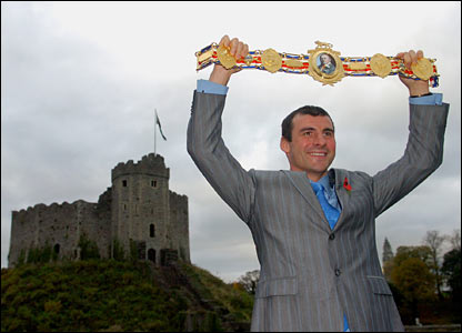 Joe Calzaghe with a Lonsdale belt from the Welsh Sports Hall of Fame presented to him by Prince Charles
