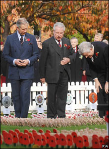 Prince Charles, Lord Lt South Glamorgan Norman Lloyd-Edwards and First Minister Rhodri Morgan during the opening ceremony of the Royal British Legion's Field of Remembrance in Cardiff