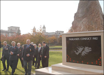 As part of the visit to Cardiff, the prince was shown the new memorial to the Falklands Conflict