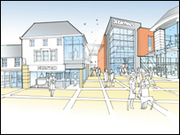 Artist's impression of what the redeveloped Neath town centre will look like