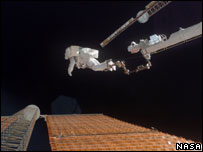 Spacewalk to repair damaged solar array (Image: Nasa)