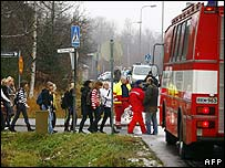 Children are evacuated from the Jokela school