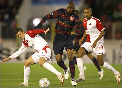 Daniel Pudil attempts to tackle Diaby