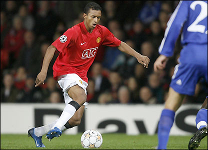 Nani in action at Old Trafford