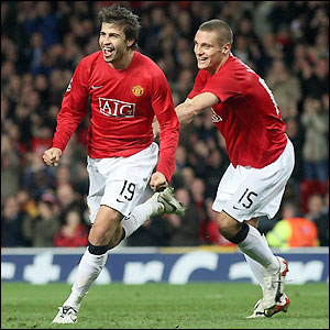 Pique celebrates his first goal for Man Utd