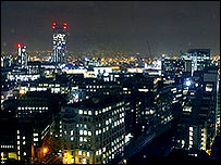 Manchester at night.