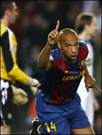 Thierry Henry celebrates after just seven minutes in the Nou Camp