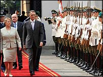 Michele Bachelet, presidenta de Chile y An�bal Cavaco Silva, presidente de Portugal.