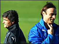Spurs boss Juande Ramos (left) and striker Dimitar Berbatov