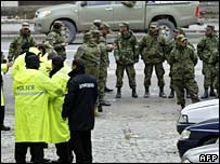 Georgian police and troops in central Tbilisi. Photo: 8 November 2007