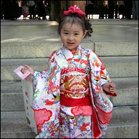 A young girl visits Tokyo's Meiji Shrine