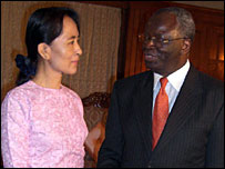 UN image of Aung San Suu Kyi and Ibrahim Gambari, 08/11