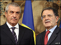 Italian Prime Minister Romano Prodi (right) with Romania's PM Calin Popescu Tariceanu in Rome