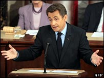 French President Nicolas Sarkozy addressing the US Congress