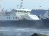 Ferry in poor weather
