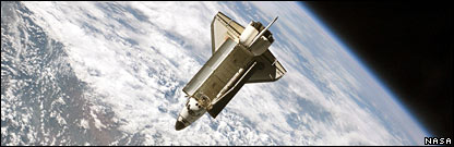 Atlantis space shuttle above the Earth