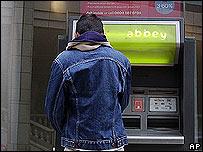 Bank customer at an ATM