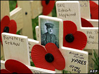 Wooden remembrance crosses