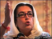Benazir Bhutto at news conference, Islamabad, 8 November 2007