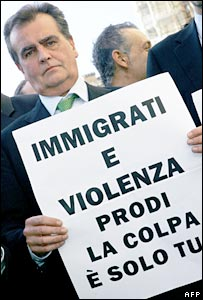 Senator Roberto Calderoli of the anti-immigration Northern League protests outside the Italian parliament