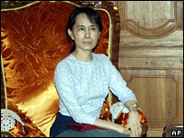 Aung San Suu Kyi (pictured on 25 October 2007)