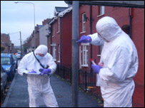 Forensic scientists at the scene