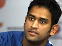 Mahendra Singh Dhoni at a press conference