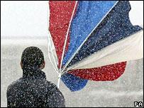 Umbrella in wind