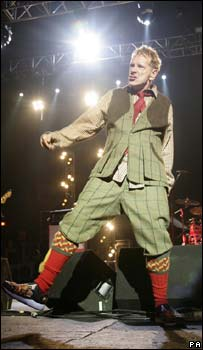 John Lydon performing with Sex Pistols
