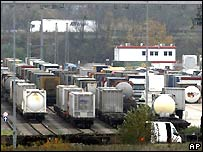 Stationary rail freight at a yard in Cologne