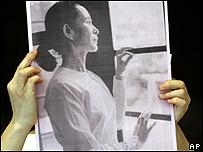Cartel con la foto de Aung San Suu Kyi