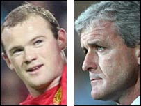 Wayne Rooney (left) and Mark Hughes