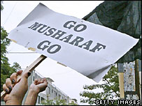 Anti-Musharraf banner during a demonstration in Islamabad (Photo: Aamir Quershi/AFP/Getty)