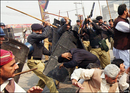 Pakistani police baton charge supporters of the Pakistan Peoples Party (PPP)  in Peshawar, 9 November 2007