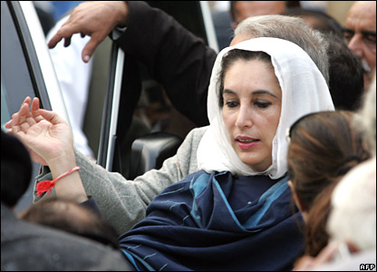 Benazir Bhutto emerges from her home in Islamabad, 9 November 2007