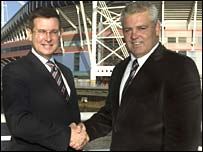 Warren Gatland (right) and WRU boss Roger Lewis