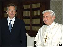 Tony Blair y el papa Benedicto XVI